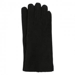 Замшевые перчатки с подкладкой из меха Agnelle. Цвет: чёрный