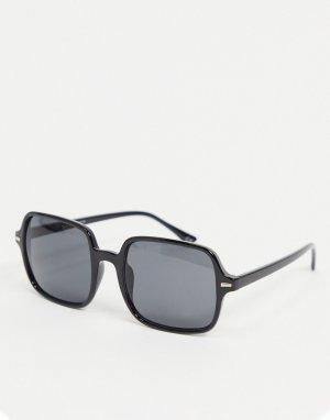 Черные солнцезащитные очки в квадратной массивной оправе из пластика -Черный цвет ASOS DESIGN