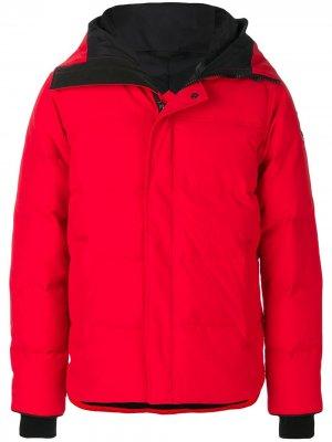 Пуховик с капюшоном Canada Goose. Цвет: красный