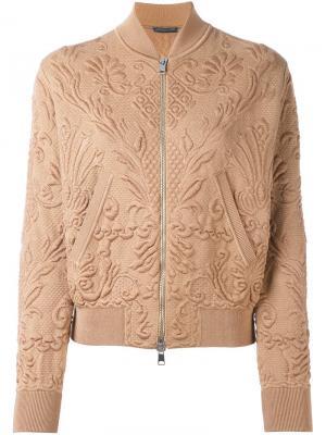 Фактурная куртка-бомбер Alexander McQueen. Цвет: коричневый