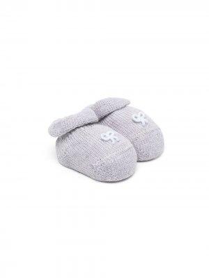 Вязаные слиперы с вышивкой Siola. Цвет: серый