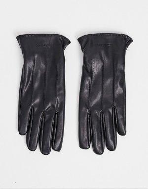 Перчатки из искусственной кожи -Черный Jack & Jones