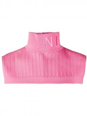 Воротник в рубчик с вышитым логотипом Nina Ricci. Цвет: розовый