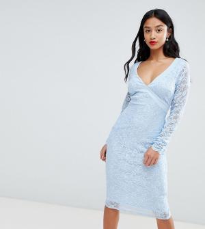 Платье-футляр с длинными рукавами и открытой спиной -Синий City Goddess Petite