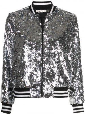 Куртка-бомбер Lonnie с пайетками Alice+Olivia. Цвет: серебристый