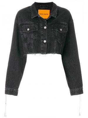 Укороченная джинсовая куртка с необработанным краем Heron Preston. Цвет: черный