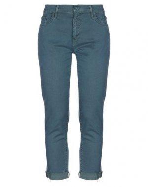 Джинсовые брюки-капри MOTHER. Цвет: цвет морской волны