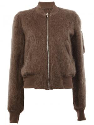 Куртка-бомбер Raglan Rick Owens. Цвет: коричневый