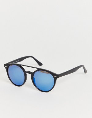 Черные круглые солнцезащитные очки с планкой сверху -Черный Bershka