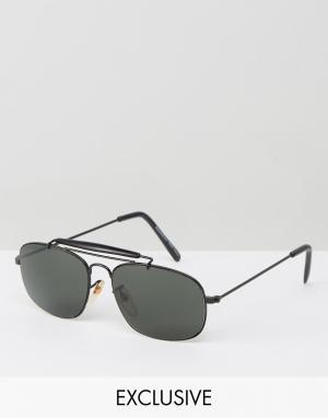 Солнцезащитные очки-авиаторы в черной оправе -Черный Reclaimed Vintage