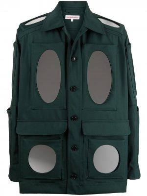 Куртка-рубашка с зеркальными вставками Walter Van Beirendonck. Цвет: зеленый