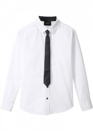 Рубашка Slim Fit и галстук (2 изд.) bonprix. Цвет: белый