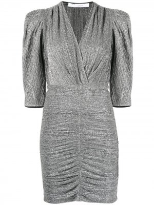 Платье с V-образным вырезом и сборками IRO. Цвет: серебристый