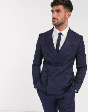 Темно-синий двубортный пиджак скинни Moss London BROS