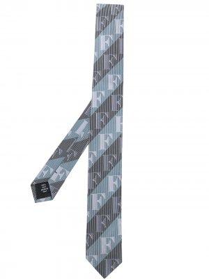 Галстук 1990-х годов в диагональную полоску с логотипом Gianfranco Ferré Pre-Owned. Цвет: серый