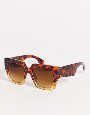 Женские солнцезащитные очки в квадратной оправе двух оттенков коричневого цвета -Коричневый цвет AJ Morgan