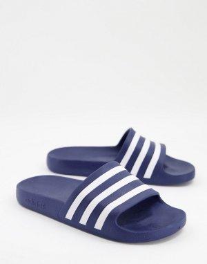 Шлепанцы темно-синего и белого цветов adidas Training Adilette-Темно-синий performance