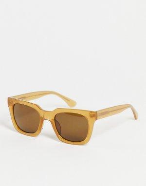 Солнцезащитные очки унисекс в квадратной светло-коричневой оправе Nancy-Коричневый цвет A.Kjaerbede