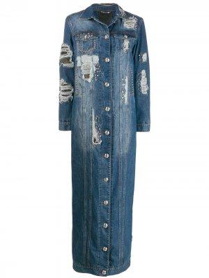Джинсовая куртка с эффектом потертости Philipp Plein. Цвет: синий