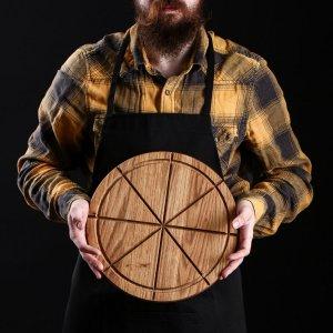 Доска разделочная, для подачи пиццы, d=30 см, массив дуба Доброе дерево