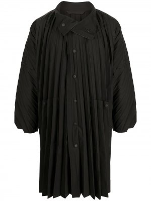 Плиссированное пальто с высоким воротником Homme Plissé Issey Miyake. Цвет: черный