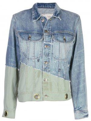 Джинсовая куртка с контрастной вставкой Greg Lauren. Цвет: синий
