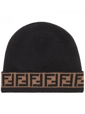 Шапка бини с логотипом FF Fendi. Цвет: черный