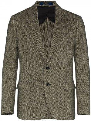 Однобортный пиджак с узором в елочку Polo Ralph Lauren. Цвет: коричневый