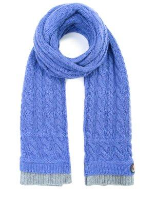 Вязаный шарф из шерсти CANADIENS. Цвет: голубой