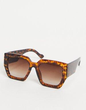 Oversized солнцезащитные очки в квадратной черепаховой оправе -Синий Stradivarius