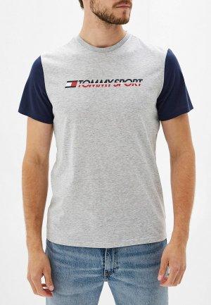 Футболка Tommy Sport. Цвет: серый