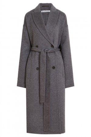 Серое пальто из шерсти Acne Studios. Цвет: серый
