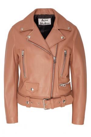 Терракотовая кожаная куртка Acne Studios. Цвет: оранжевый