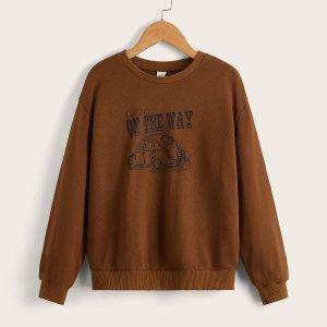 Пуловер с рисунком автомобиля и текстовым для мальчиков SHEIN. Цвет: кофейный коричневый
