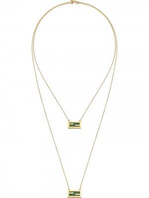 Цепочка на шею с логотипом FF Fendi. Цвет: золотистый