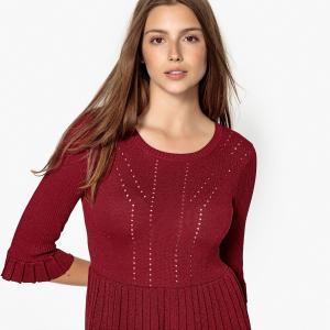 Платье-пуловер расклешенного покроя с рукавами 3/4 CELESTINE SUNCOO. Цвет: бордовый