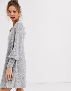 Свободное мягкое платье мини с длинными рукавами -Серый ASOS DESIGN
