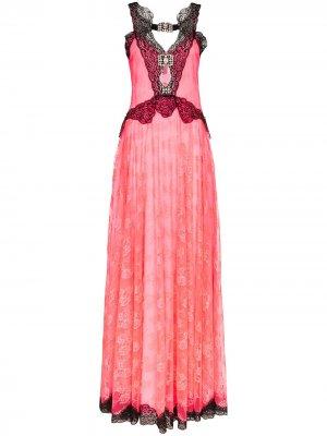 Платье макси с контрастным кружевом Christopher Kane. Цвет: розовый