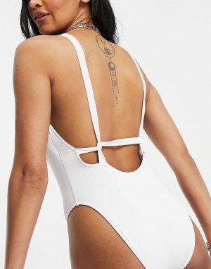 Белый поддерживающий купальник из переработанного материала для большой груди с глубоким вырезом и бретельками ASOS DESIGN