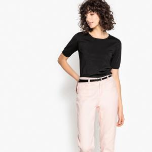 Пуловер с круглым вырезом и короткими рукавами LA REDOUTE COLLECTIONS. Цвет: фиолетовый,черный