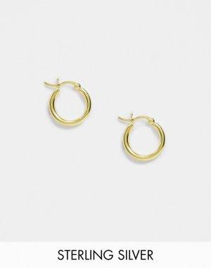 Серебристые позолоченные серьги-кольца 15 мм -Золотой ASOS DESIGN