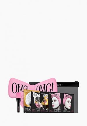 Набор для ухода за лицом Double Dare OMG! SPA из 4 масок, кисти и нежно-розового банта. Цвет: разноцветный