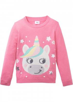 Пуловер вязаный с зимним узором bonprix. Цвет: розовый