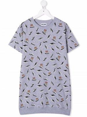 Teddy Bear motif T-shirt dress Moschino Kids. Цвет: серый