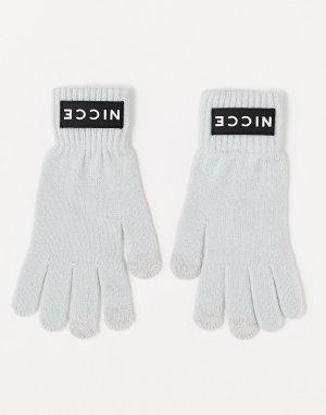 Серые перчатки с логотипом -Серый Nicce