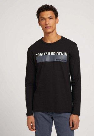Лонгслив Tom Tailor Denim. Цвет: черный