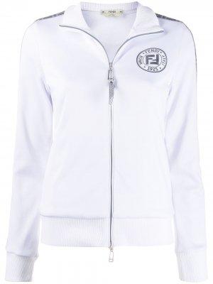 Куртка на молнии с эффектом металлик и логотипом FF Fendi. Цвет: белый