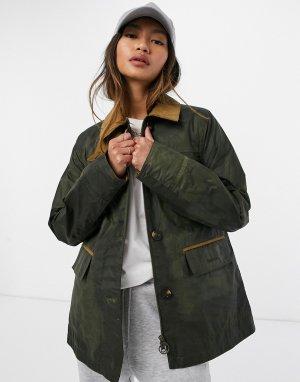 Вощеная куртка оливкового цвета Christie-Зеленый цвет Barbour