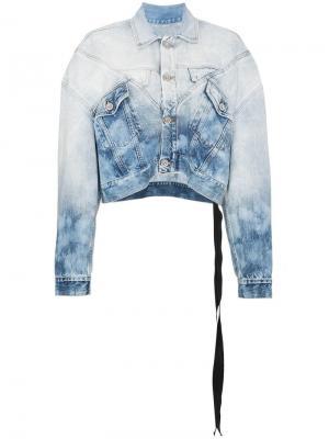 Джинсовая куртка с принтом ломбер и эффектом обесцвечивания Unravel Project. Цвет: синий