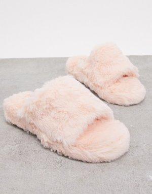 Нежно-розовые пушистые тапочки Simmi London-Розовый Shoes
